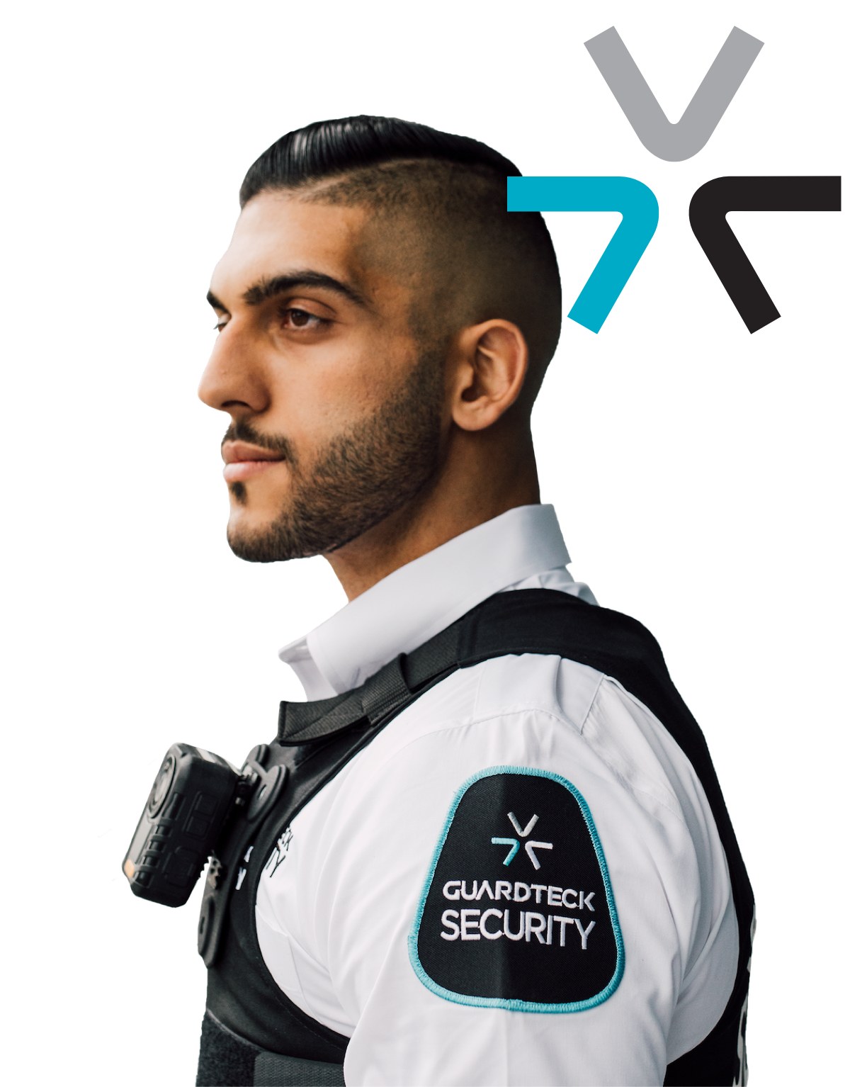 Guardteck employee performing security for mall and retail store fronts.